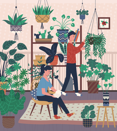 Home interior, greenhouse with plants in pots man and woman with hobby. Male caring for houseplants and woman reading book sitting on chair in room Ilustrace