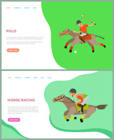 Horse racing, polo sports, jockey riding by horseback, side view of people on animal, males in helmet with equipment sitting on stallions vector. Website or webpage template, landing page flat style
