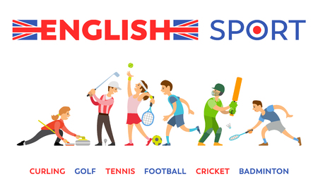English sport, curling and golf, tennis and football, cricket and badminton isolated sportsman. Vector athlete playing sport activities, players with equipment 일러스트