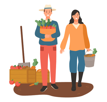 Man and woman carrying basket with veggies vector, container with harvested carrots, people working on field with vegetables and fruits growing isolated Illustration