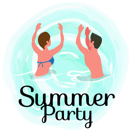 Summertime party, couple dancing in ocean, spending time at summer resort isolated vector banner. People on vacation swim and sunbathing, relaxing on water