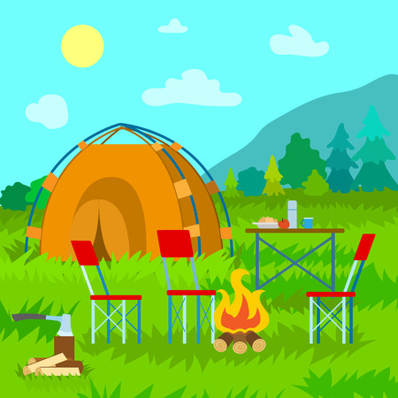 Traveling season in summer vector, vacation and relaxation camp. Mountains and forest of pines and spruce, tent and bonfire with logs, table and food in plate. Camping equipment on grass Иллюстрация