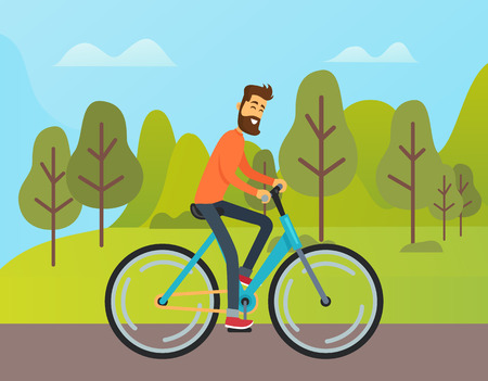 Man riding bicycle outdoor, side view of boy in casual clothes, smiling boy with beard going near trees and mountain landscape, biking weekend vector  イラスト・ベクター素材