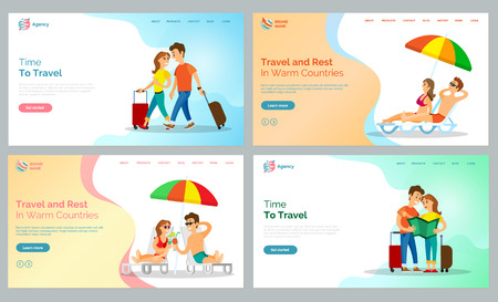 Travel and rest in warm countries vector, people walking with baggage and couple lying on chaise longue under umbrella shade. Tourism destination website or webpage for travel agency, landing page