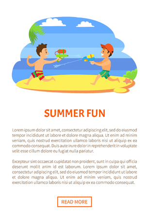 Summer fun, kids playing with guns loaded with water vector, children onvacations. Fighting by aqua boys at coastline, vector kids at seaside having fun. Website or webpage template, landing page Illustration