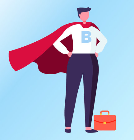 Person wearing formal suit vector, superhero in field of business flat style. Isolated male with briefcase standing in solemn pose proud of himself Illustration