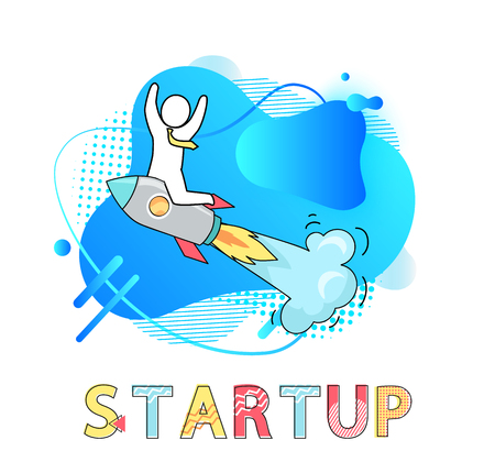 Startup business vector, man wearing tie businessman riding flying launches rocket with smoke, development of project, successful job and results Ilustração