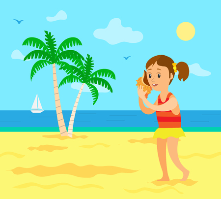 Kid on summer vacation vector, child listening to noise in seashell. Girl wearing swimming suit, seascape and coast with sailboat on water surface, palm Archivio Fotografico - 124190707