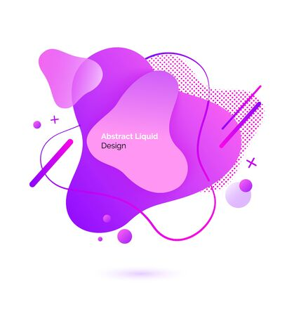 Color substance and drops, abstract liquid design vector. Dynamic colored shapes and forms., logo or emblem and banner template or mockup, flowing fluid