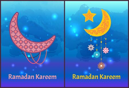 Ramadan Kareem posters set crescent moon and stars, internationally-recognized symbol of Islam decorated by ornamental trinket vector arabian holiday cards Ilustração