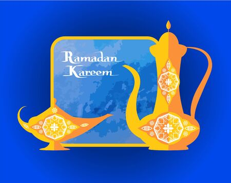 Ramadan Kareem poster with islamic dishware decorative pitcher in vintage style, arabic genie lamp or coffee pot, frame for text topped vector illustration