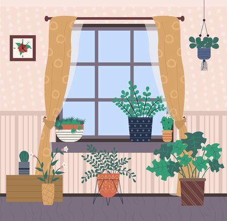 Place with houseplants vector, plants growing in pots, leaves and foliage of different type of floral. Curtains on window, picture in frame hanging on wall
