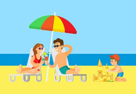 Beach relaxation vector, summer vacation, parents drinking cocktail with straws. Child building sand castle, summertime fun, man and woman under umbrella
