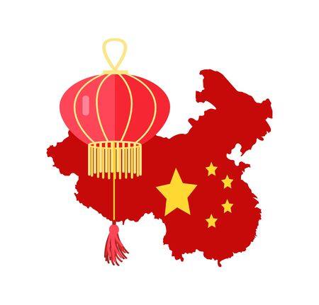 Map of Chinese country vector, traditional representation of China with flag stars and paper lantern isolated flat style. Oriental culture elements