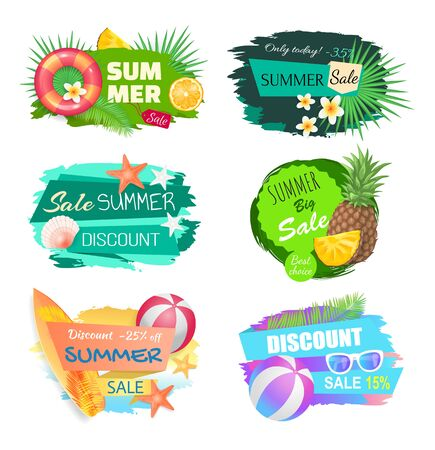 Summer summertime sales banners set vector. Lifebuoy saving ring and tropical leaves, pineapple fruit, sea star and shells. Discounts and new offers