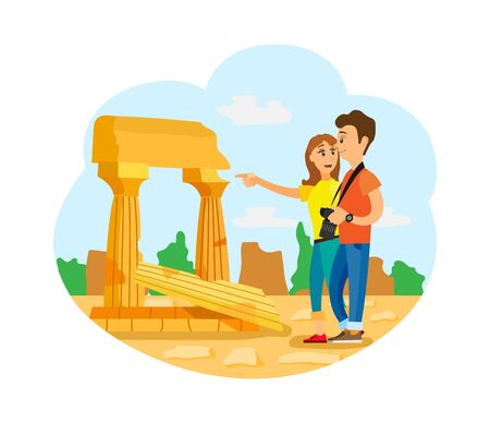 Traveling people vector, old city with architecture, vacation of man and woman. Couple with professional camera, stone and historic ruins of buildings Çizim