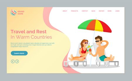 Travel and rest in warm countries vector, man and woman drinking exotic cocktails while sitting on chaise longue at beach, seaside vacation and relax. Website or webpage template, landing page flat style Illustration