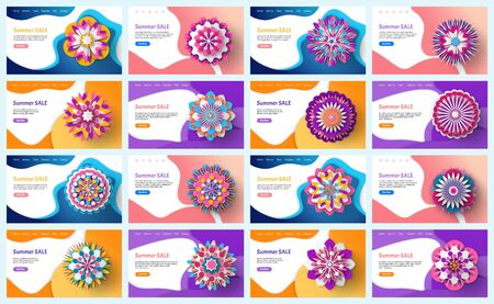 Papercut 3d flower, summer discount and spring sale vector, flowers and blossom brochure with information about clearance, sales and special offers from shops. Website or landing page flat style Illustration