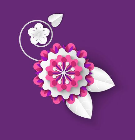 Tender flower vector, origami decoration, plant made of paper, springtime and summer decoration, blooming flora artwork, isolated Chinese Asian style