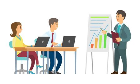 Boss presenter on seminar vector, businessman with listening coworkers. Presentation on whiteboard infocharts and analytics, workers with laptops Imagens - 124483224