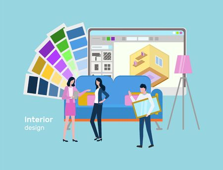 People thinking on interior design for client vector, optimization of house, man and woman brainstorming on colors palette, building in application