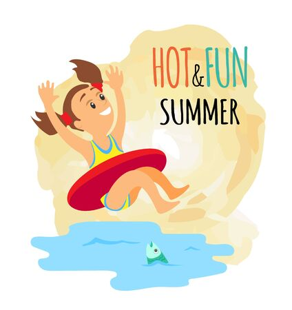 Girl in lifebuoy jumping in water isolated icon, summer beach activity and swimming vector. Child in inflatable ring and fish in sea, holidays or vacation