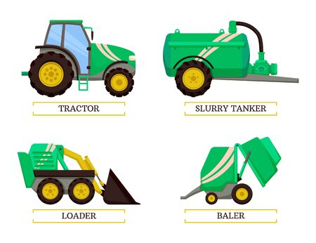 Slurry tanker and tractor isolated icons set vector. Loader and baler agricultural agro mechanisms and devices. Machinery with tank and reservoirs