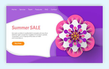 Summer sale vector, discount and price reduction with information, offers and clearance of shops to clients ,shopping and purchasing low price. Website or webpage template, landing page flat style