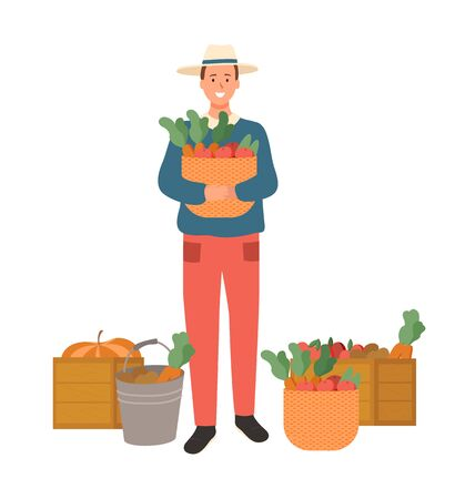 Farming man on harvesting season vector, isolated male with basket and carrots, tomatoes apples in bags and wooden containers flat style harvesting Foto de archivo - 124699538