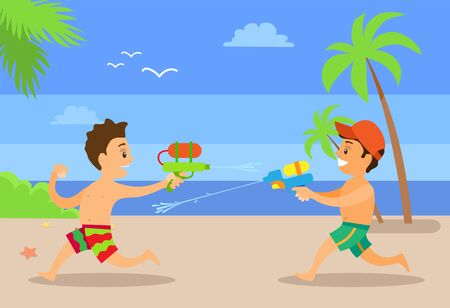 Fighting by water boys at coastline, vector happy kids at seaside having fun. Kids playing with guns loaded with aqua vector, children on summer vacations Illustration