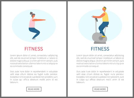 Fitness people leading healthy lifestyle vector, athletes doing squats and riding machine bicycle. Man and woman in gym losing weight and keep fit