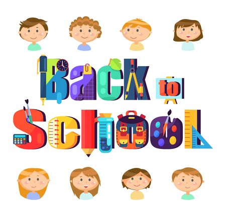 Stationery and pupils children, back to school vector. Education and knowledge, boys and girls, pen and pencil, timer and easel, calculator and flask Illustration