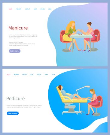 Manicure and pedicure spa procedures, master making fashion nails for client. Woman sitting at table at salon, fingers and toes treatment, web page vector