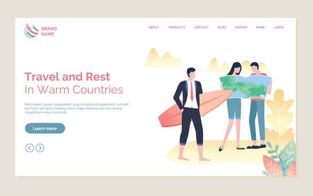 Travel and rest in warm countries, couple standing with map, person in suit holding surf, full length view of people, holiday tour online vector. Website or webpage template, landing page flat style Stock Illustratie
