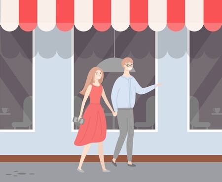 Male and female in love, guy in glasses, lady in red dress walking outside along facade with shop windows. Vector people in casual cloth dating at summer