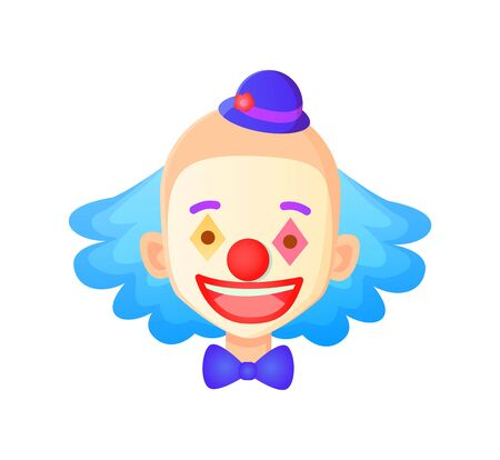 Smiling man wearing makeup vector, clown with hat and blue hair isolated face of person, performer in circus, character with smile, smiling male flat style