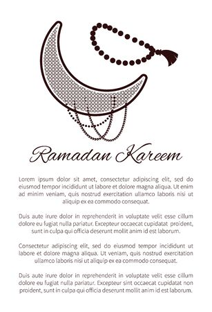 Ramadan Kareem poster with crescent, muslim prayer beads and text sample, arabic symbol of Moon vector illustration isolated on white background