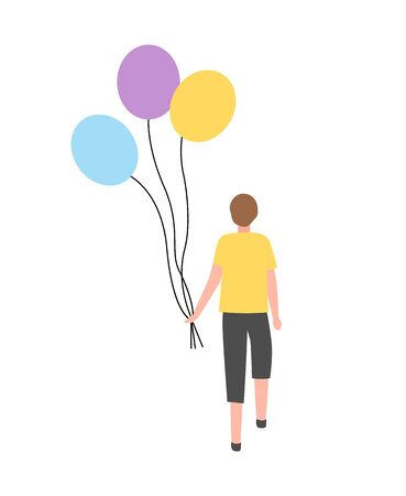 Guy with bunch of air balloons isolated cartoon character. Vector teenage boy with inflatable balls on rope, back view of person in yellow sweater
