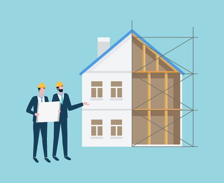 Engineers wearing helmets and looking at pages vector, schemes and plans in hands of people looking at building in process, walls and chimney windows Standard-Bild - 124699563