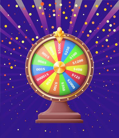 Fortune wheel of casino vector, gambling and playing games for money. Dollars and cash made of deal, betting and winning, congrats with victory confetti Ilustração