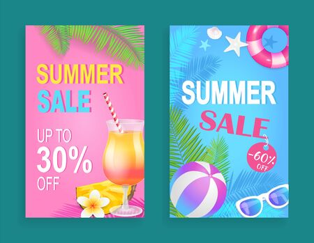 Summer sale reduction posters set vector. Cocktail with straw, rubber and lifebuoy, sunglasses,,  and conch. Palm tree foliage promotion and sell out