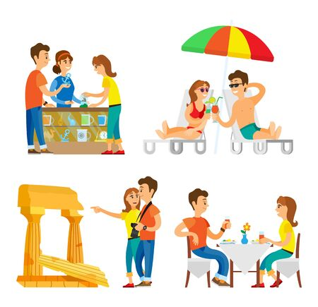 People traveling vector, couple relaxing with cocktails under umbrella. Man and woman visiting ancient ruins sightseeing, male and female in shop Illustration