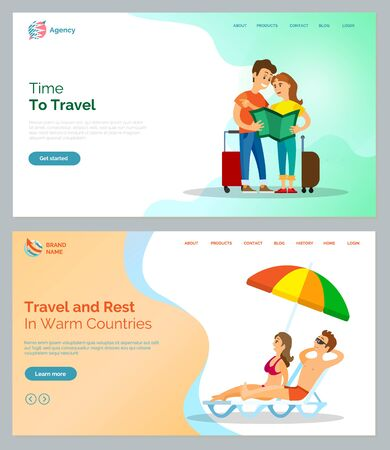 Time to travel vector, people holding map standing with baggages. Man and woman relaxing by seaside in warm countries, couple laying in sun. Website or webpage template, landing page flat style Illustration