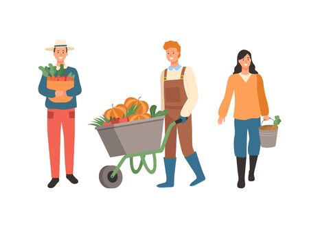 Farmers busy with work vector, man carrying gathered carrots in woven basket, male pushing carriage with pumpkins, lady with bucket and eco products Illustration