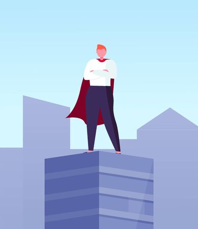 Leader in superhero cloak on top of skyscraper in city center. Vector business hero, superhuman big boss, commercial businessman on roof with hands on chest Illustration