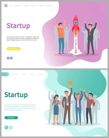 People launching rocket vector, startup business solution. Coworkers happy of successful beginning of project, colleagues with gold award triumph. Website or webpage template, landing page flat style 일러스트