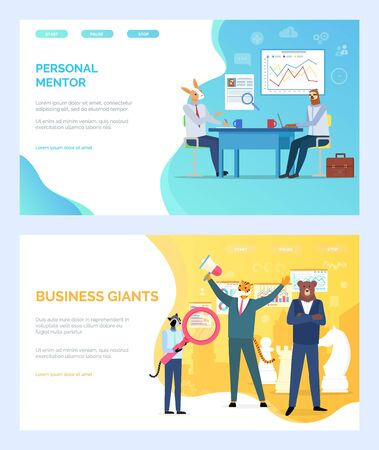 Personal mentor vector, deer giving advice to student, business giants tiger with megaphone hipster animal with magnifying glass, sloth on meeting. Website or webpage template, landing page flat style