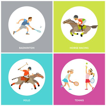 Badminton and polo, horse racing and tennis round icons, sporty people running or playing with racket and ball, men wearing helmet, competition vector
