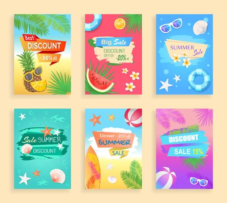 Big summer sale, best discount shaped ribbon, vector banner. Inflatable ring, sun glasses, shell and star, flower and fruit, palm leaves, beach ball
