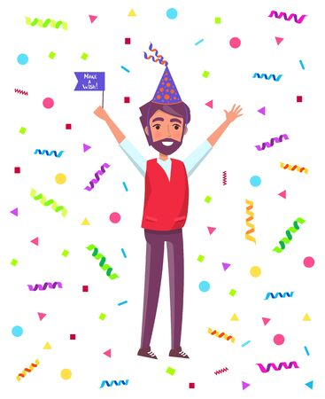 Bearded man in cartoon cone shape hat with raised up hands greeting everyone isolated on backdrop with confetti stripes and circles. Male with flag on party  イラスト・ベクター素材